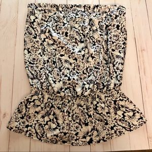 The Limited - Black and White Floral Tube Top NWOT